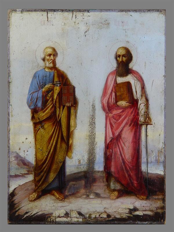 Икона «Святые Апостолы Петр иПавел», дерево, масло, конец XIX— начало XXвека, 35,5×26,5см