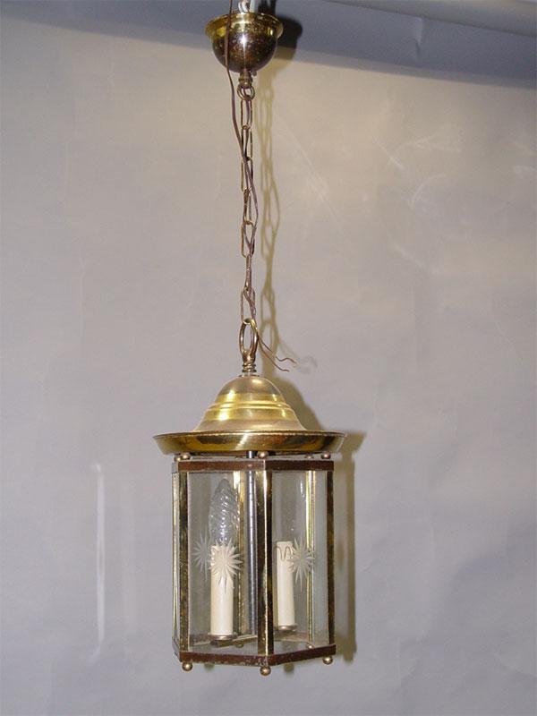 Люстра-фонарь, две «свечи», латунь, стекло, высота— 76см