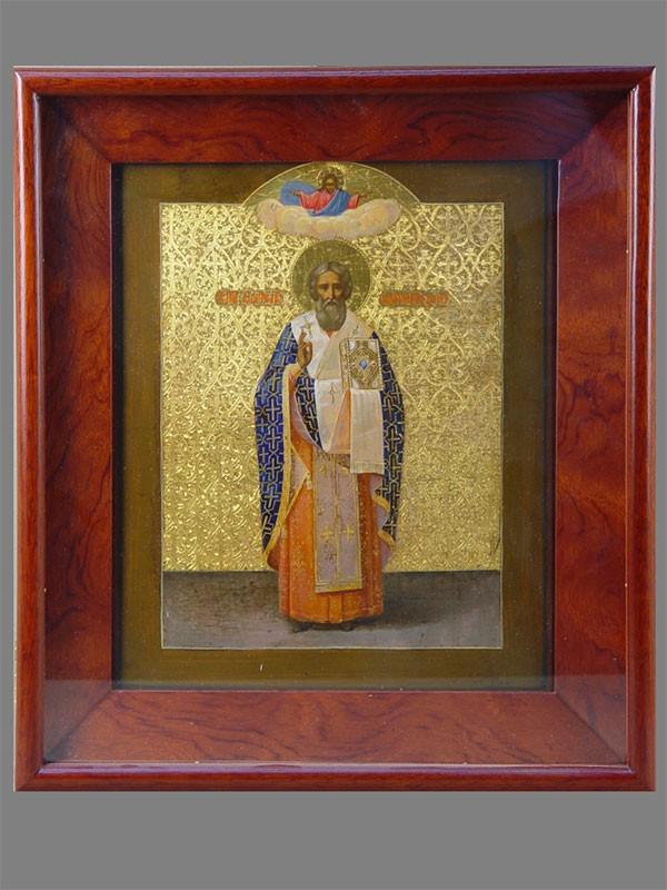 Икона «Святой Анатолий Патриарх Царьградский», дерево, темпера, золочение, XIXвек, 31×26см; киот