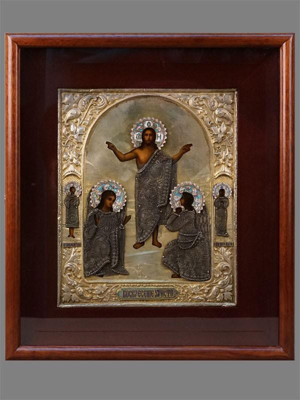 Икона вкиоте «Воскресение Христово. Предстоящие: Святые Алексий Человек Божий иМученица Вера», дерево, масло; оклад: серебро 84°, скань, позолота, эмаль. XIXвек, размер иконы: 27,5×22,5см