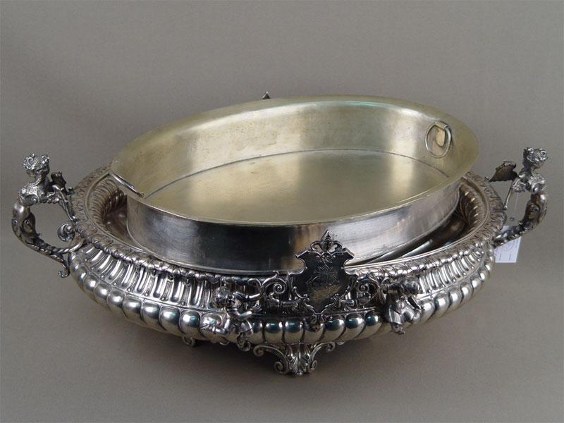 Фруктовница, серебро пореактиву, общий вес— 2515г. Западная Европа, XIXвек, длина— 40см