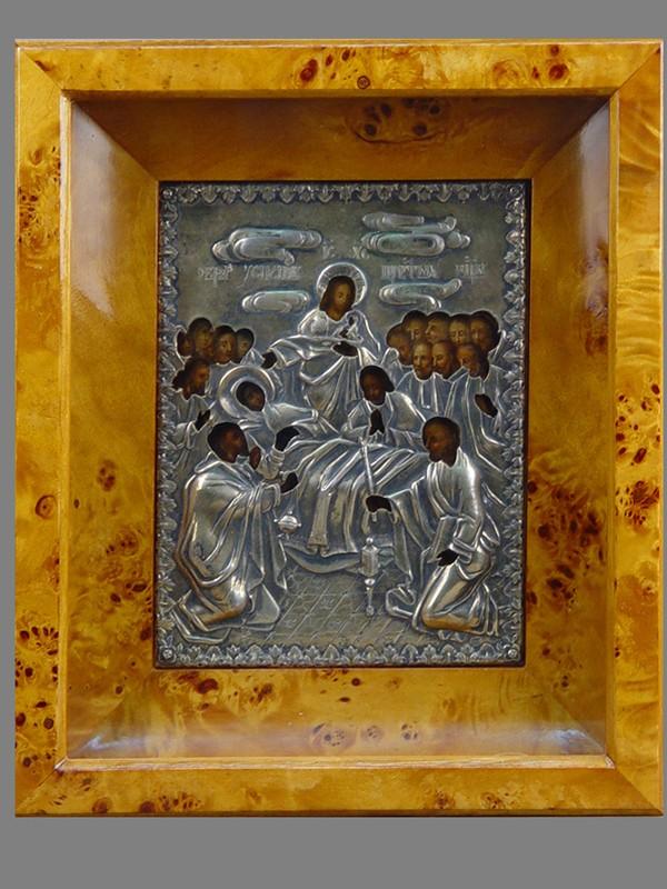 Икона «Успение Пресвятой Богородицы», дерево, масло, оклад серебро 84пробы, XIXвек, 18×14см; киот
