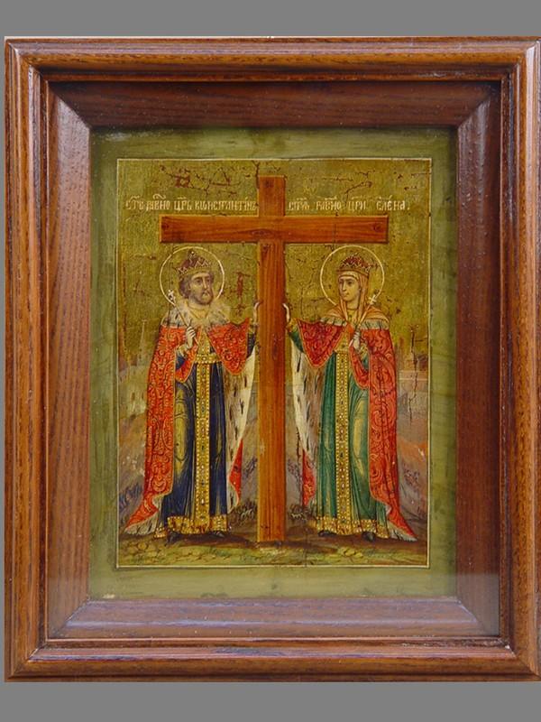 Икона «Святые Константин иЕлена», дерево, темпера, XIXвек, 18×14см; киот