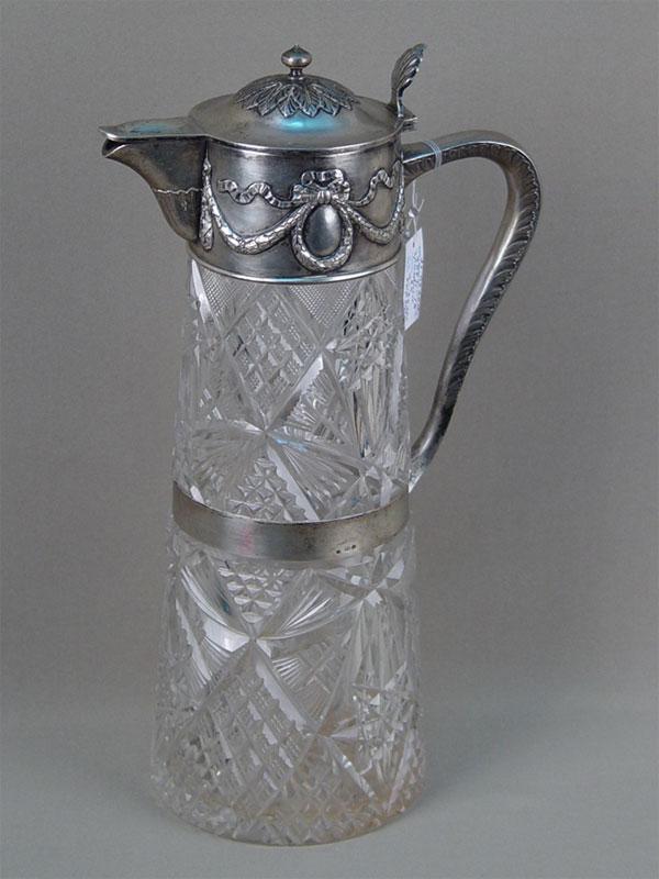 Графин, серебро 84пробы, хрусталь, высота— 33см. Россия, Санкт-Петербург, 1908год, мастер «Т.А.»