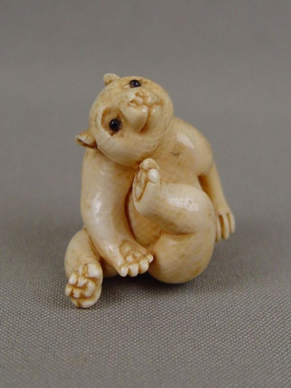 Нэцкэ «Медвежонок», кость, резьба. Япония, начало XXвека, высота— 3,5см