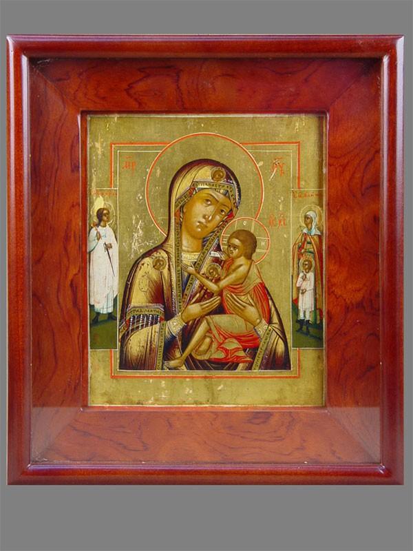 Икона «Пресвятая Богородица ОВсепетая Мати спредстоящими (Ангел Хранитель иСвятые Кирик иУлита)», дерево, левкас, темпера, XIXвек, 22×18см; киот