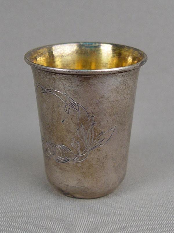 Стопка, серебро 875пробы, гравировка, золочение, высота— 6,5см, общий вес— 48,95г.