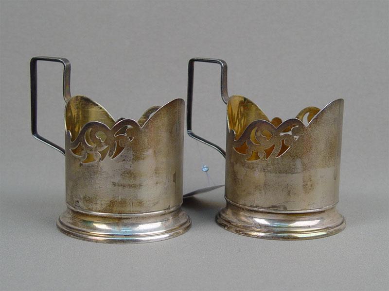 Пара подстаканников, серебро 875пробы, общий вес— 228,98г.