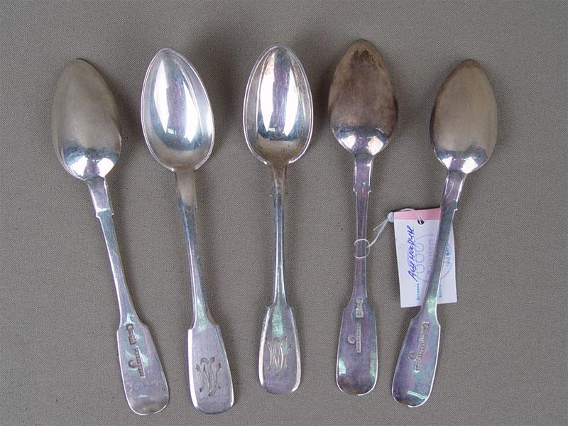 Чайные ложки (5шт.), серебро 84пробы, общий вес— 166г., клеймо «Ашмарин»