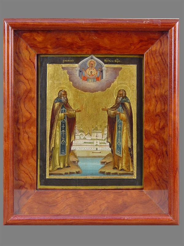 Икона «Святые Зосима иСавватий Соловецкие», дерево, левкас, темпера, середина XIXвека, 22×18см; киот
