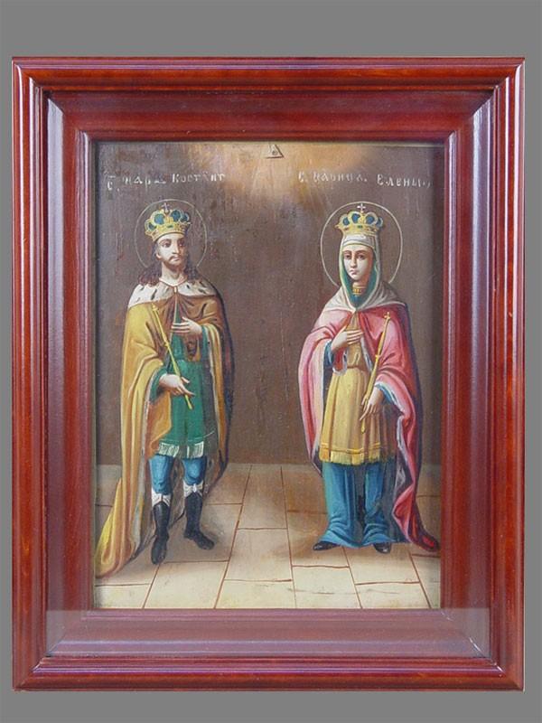 Икона «Святые Константин иЕлена», дерево, масло, XIXвек, 29,5×22,5см; киот