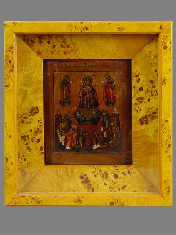Икона «Пресвятая Богородица Живоносный Источник», дерево, левкас, темпера, XIXвек, 16×13см; киот