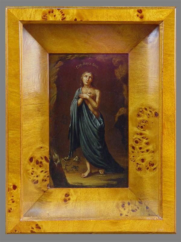 Икона «Святая Преподобная Мария Египетская», стекло, масло (двустороннее изображение), XIXвек, 16×9,5см; киот