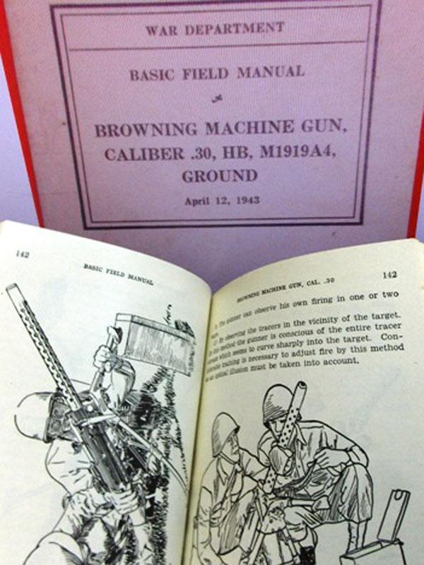 Станковый пулемет Браунинг. M1919A4, Ground / United States. War Department. FM 23-45. Browning Machine Gun, Caliber30, HB, M1919A4, Ground.— Вашингтон: Издание Военного департамента US,1943.— 268стр. силл. модель для машин пехоты иустановки натанки. <i>Издательская обложка. Наанглийском языке.</i>