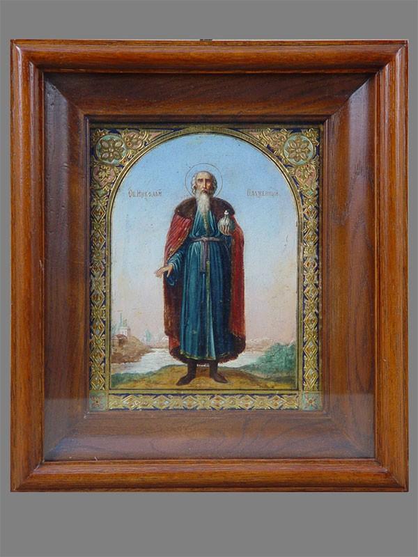 Икона «Святой Николай Кочанов Блаженный», дерево, масло, XIXвек; 18×14см; киот