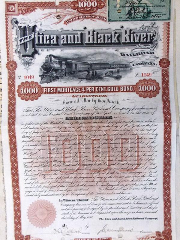 Антиквариат. Сертификат Железнодорожная компания Ютика и Черная река. США. железная дорога