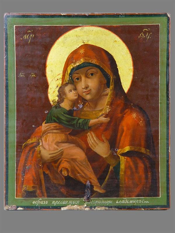 Икона «Пресвятая Богородица Владимирская», дерево, масло, середина XIXвека, 31×26,5см