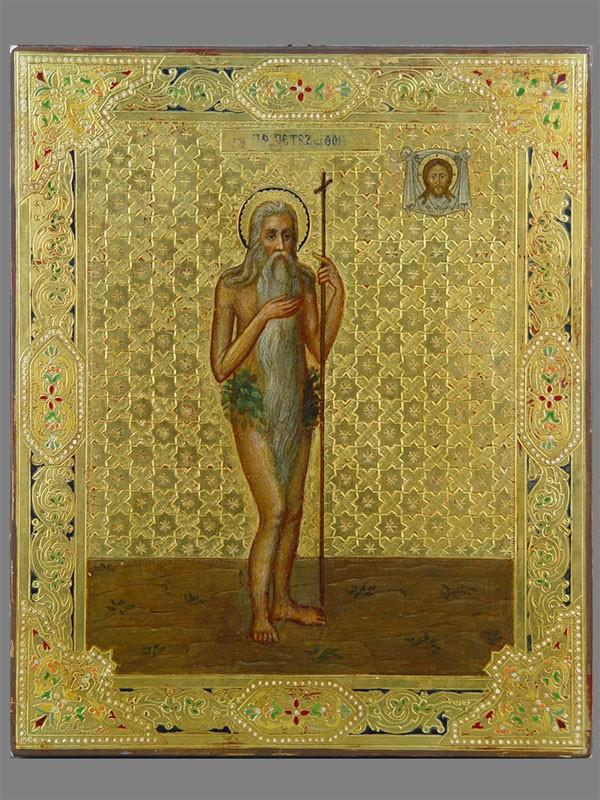 Икона «Святой Петр Афонский», дерево, масло, золочение, конец XIXвека, 31×25,5см (реставрация)