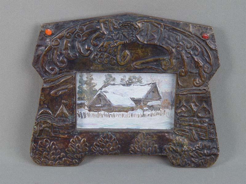 Рамка для фото врусском стиле, дерево, медь, чеканка, смальта, начало XXвека, 25×21см
