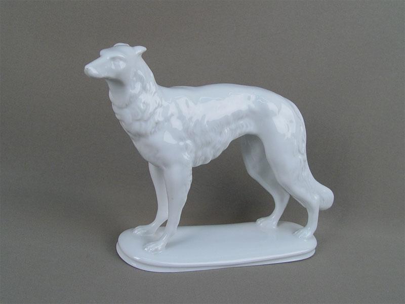 Антиквариат. «Борзая», немецкий фарфор. охота. охотничья собака