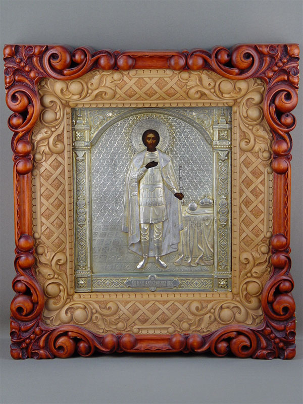 Икона вкиоте «Святой Благоверный князь Александр Невский», дерево, левкас, темпера; оклад— серебро 84°. XIXвек, размер иконы: 32×27см