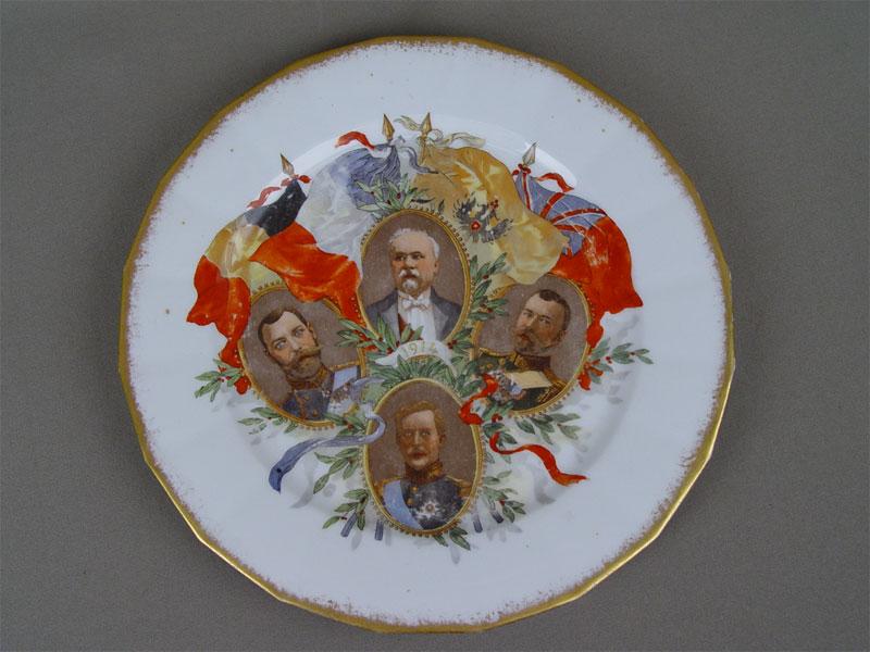 Антиквариат. Тарелка «Государственные деятели. Европа»
