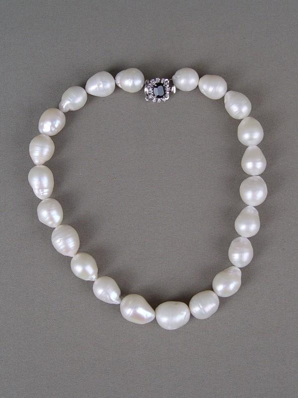 Ожерелье, барочный морской культивированный жемчуг, металл, стразы, длина— 45см
