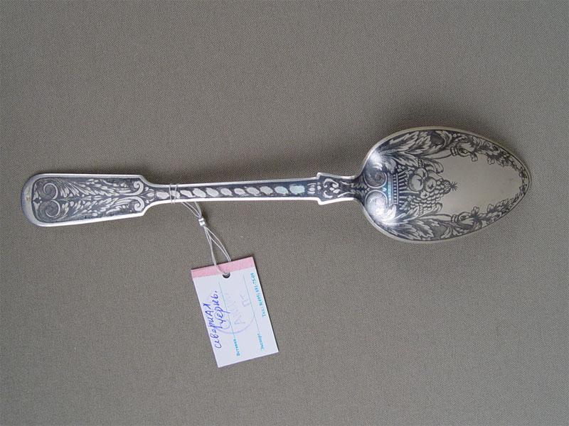 Антиквариат. Ложка столовая, серебро 875 пробы, чернь