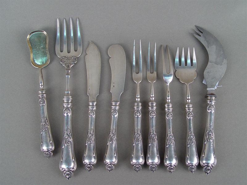 Антиквариат. серебряный сервировочный набор, серебро 84 пробы