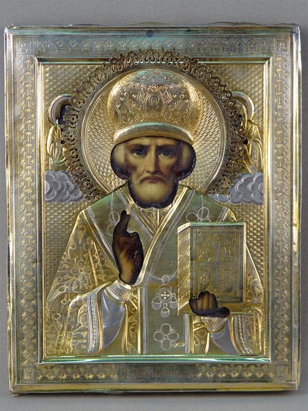Икона «Святой Николай Чудотворец», дерево, масло, оклад серебро 84пробы, 22×18см