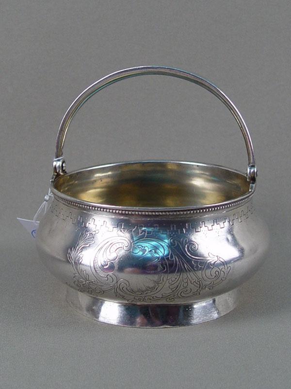 Антиквариат. серебряная Сахарница, серебро 84 пробы