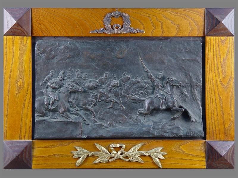 Антиквариат. Барельеф «Кавалерия» Конница. армия. кони. война 1812 года