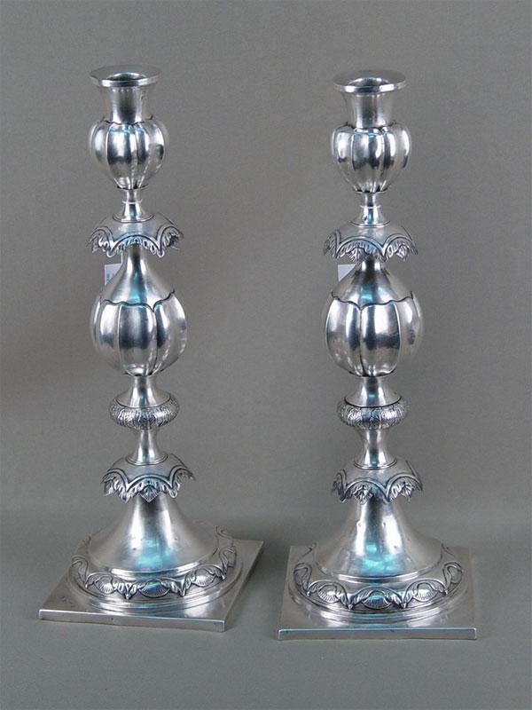 Пара подсвечников, серебро 84пробы, общий вес— 810г., высота— 35см