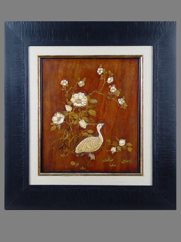 Антиквариат. Панно «Цветы и птицы»