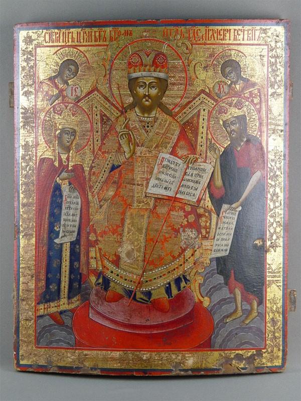 Антиквариат. Икона Спас на троне. Спаситель