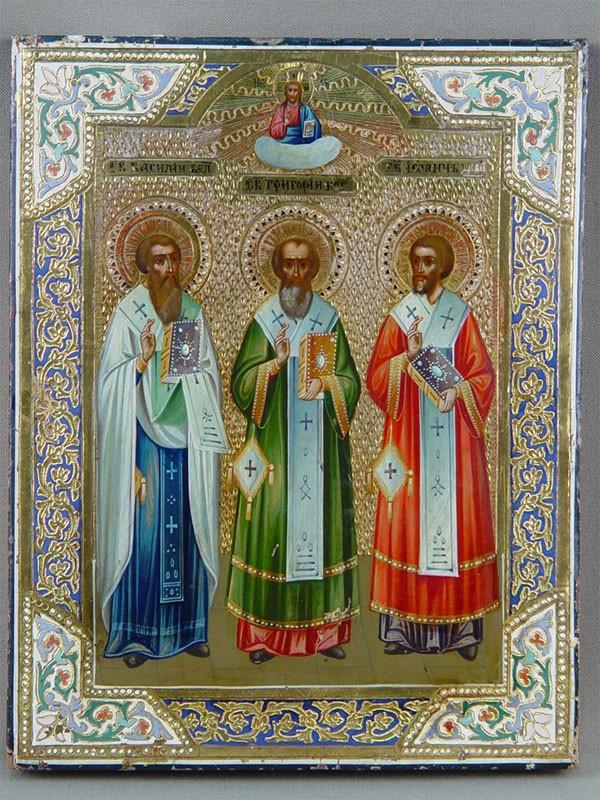 Антиквариат. Икона «Святые Василий Великий, Григорий Богослов, Иоанн Златоуст