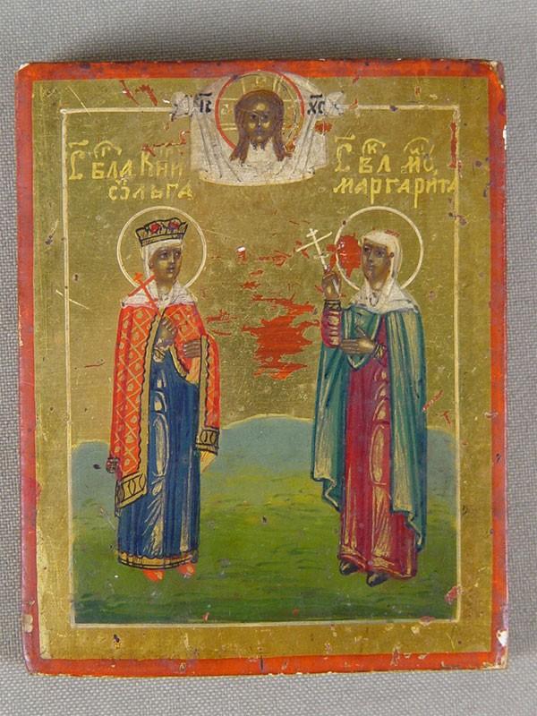 Антиквариат. Икона «Святая Княгиня Ольга и Святая Великомученица Маргарита»