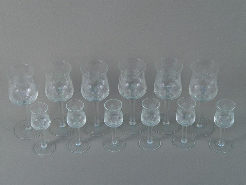 Антиквариат. старинные бокалы стекло, гравировка