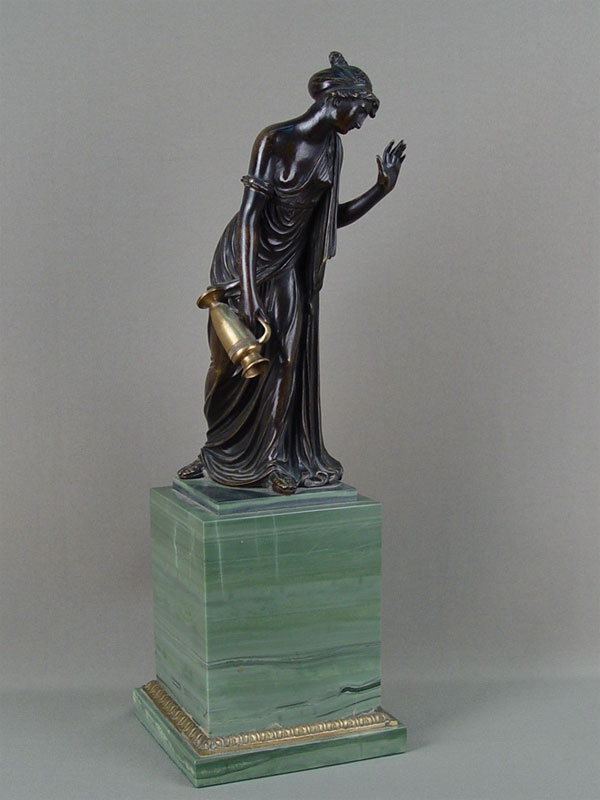 Антиквариат. «Девушка с кувшином», старинная бронзовая скульптура