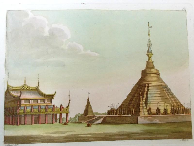 Антиквариат. Камбоджа. Акватинта. старинная гравюра. Азия. география