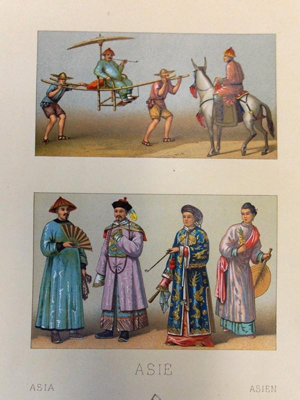 Антиквариат. Китайский костюм. Хромолитография. Китай