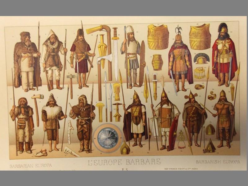 Антиквариат. Военный костюм. Викинги, скифы, гунны, сарматы. Хромолитография