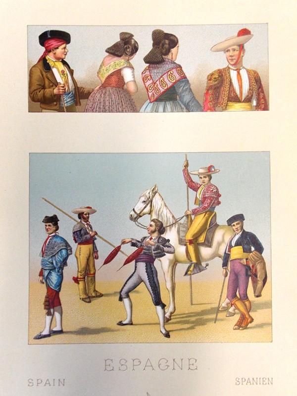 Антиквариат. Испанский костюм. Испания. Хромолитография