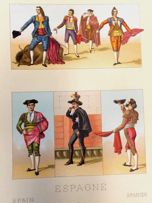 Антиквариат. Испанский костюм. Хромолитография. Испания