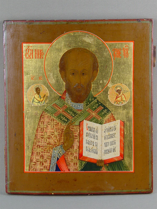 Антиквариат. старинная Икона «Святой Николай Чудотворец»