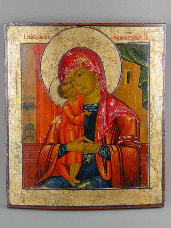 Антиквариат. старинная Икона «Пресвятая Богородица Взыскание погибших»