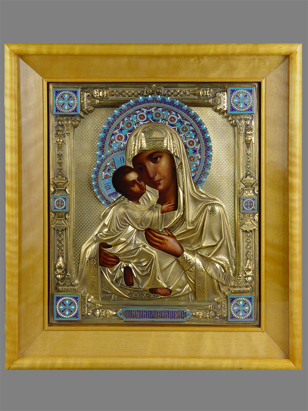 Икона «Пресвятая Богородица Владимирская», дерево, масло; оклад серебро 84пробы, золочение, эмаль, 1891год; 31,5×27см; киот