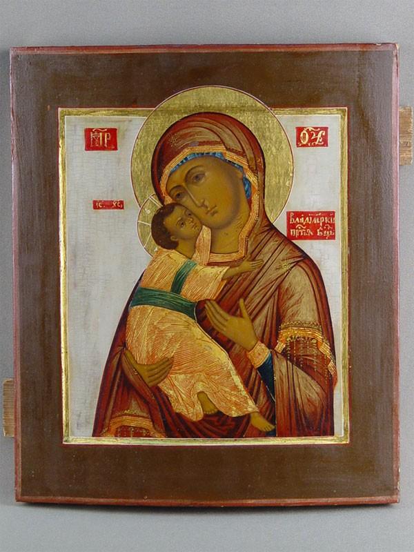 Икона «Пресвятая Богородица Владимирская», дерево, темпера, золочение. Москва, XIXвек, 31× 26,5см