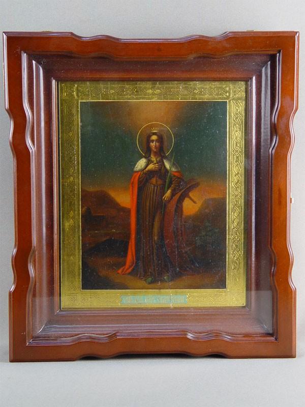 Икона «Святая Великомученица Екатерина», дерево. масло, сусальное золото, конец XIXвека, 26,5×21,5см; киот