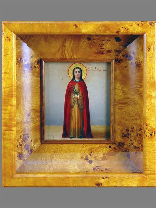 Икона «Святая Мученица Лидия», дерево, масло, 13,5×11см, XIXвек; киот
